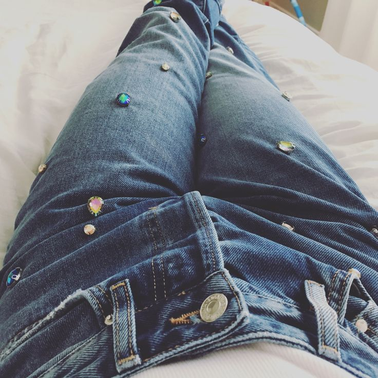 Studded, gemstone jeans