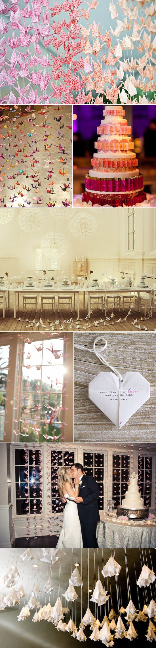 Origami wedding details - you can hand make these, buy paper in bulk - DIY and money saving. (Plus it's beautiful!)