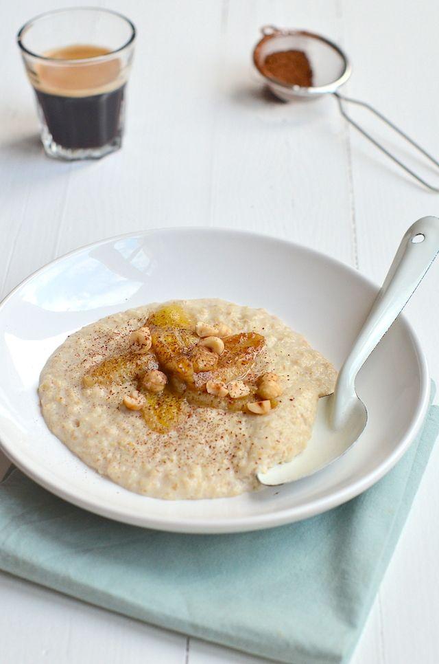 havermoutpap met gebakken banaan, leuk idee #oats #oatmeal