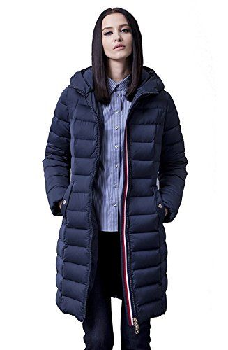 BININBOX Women's Slim Down Coat Quilted Hooded Down Jacket Long Parka (US L/Tag XL, Dark blue)