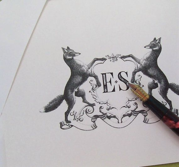 Fox Crest Personalized Notecards Vintage Inspired by HappyHound, $12.95