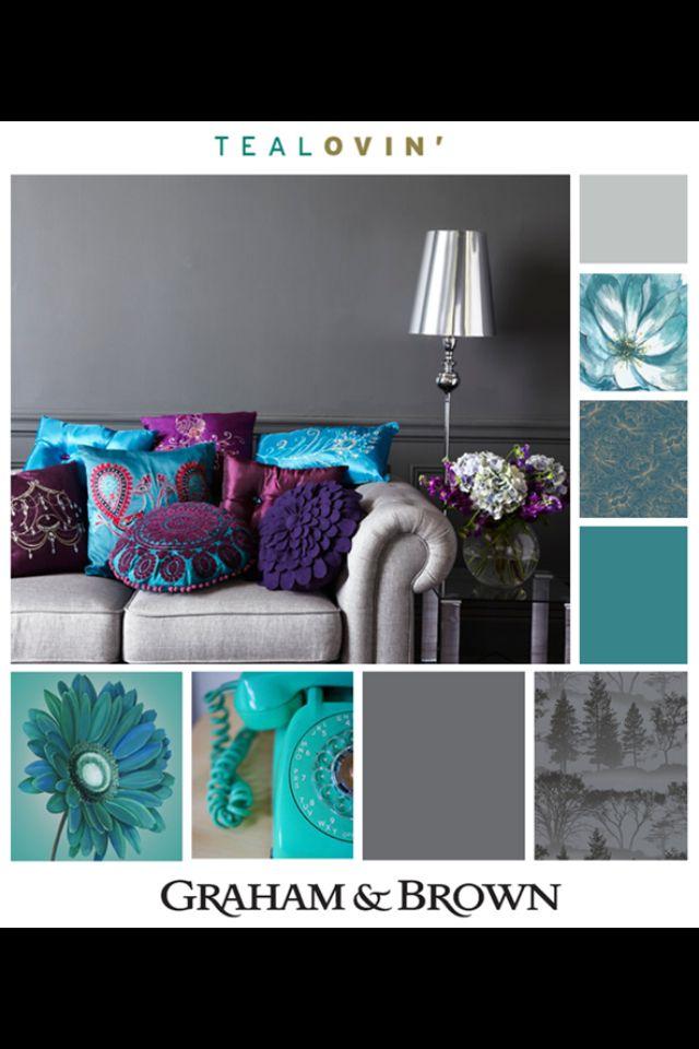 Gama de colores para decoración con base azul y gris