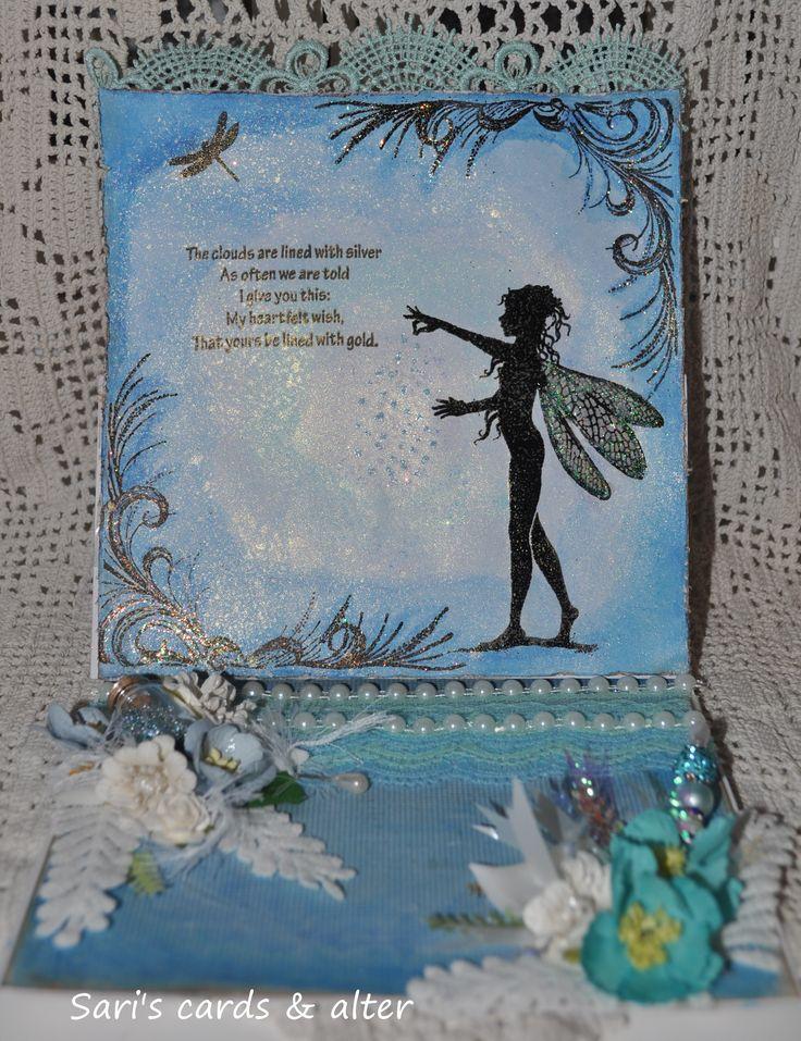 Blue, watercolors, fantasy,fairy,glitter,lavinia card/easel card