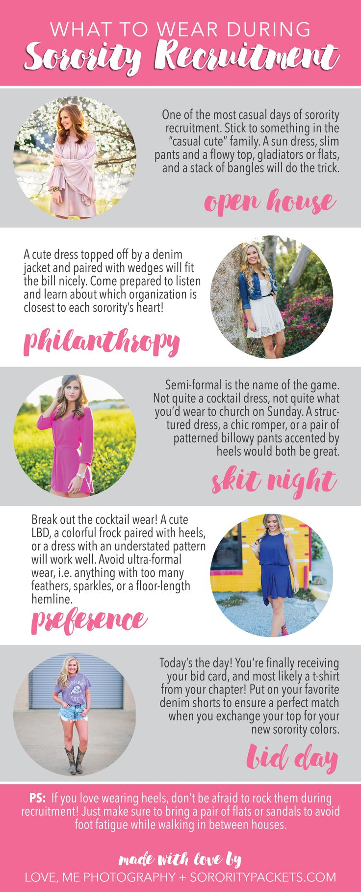 Outfit ideas for each round of sorority recruitment! Made with love by lovemephotography.com + sororitypackets.com