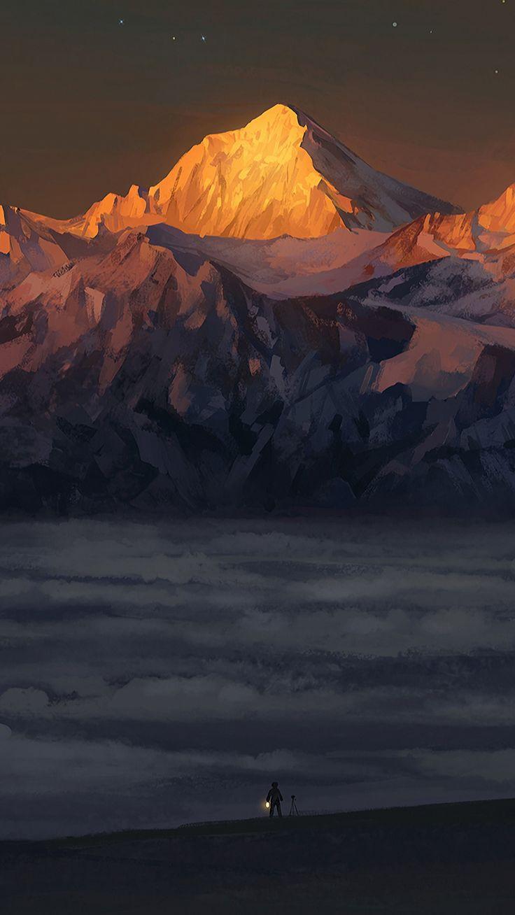 Golden peaks, mountains, sunset, fantasy, artwork ...