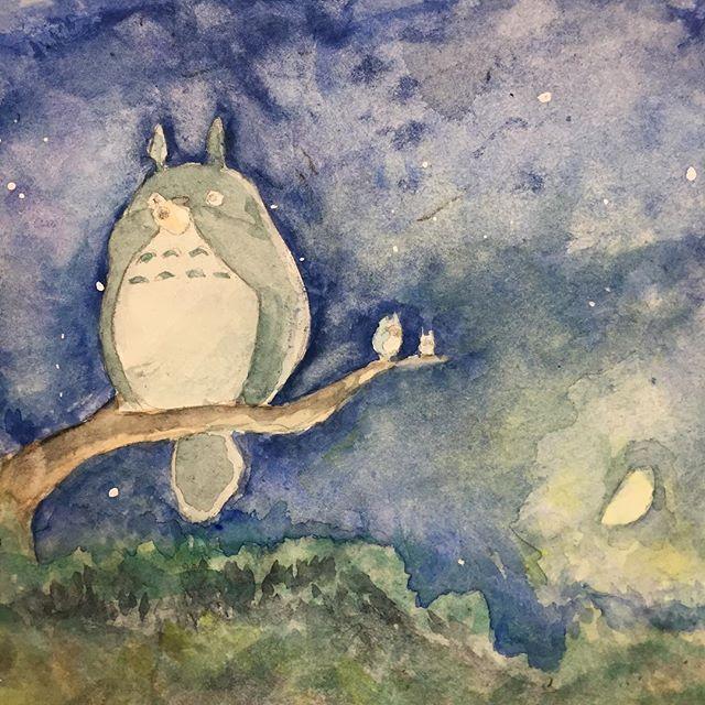 【yuiko_artlove】さんのInstagramをピンしています。 《なぜかトトロ。 なにげ人生初トトロ。 特に意味は無いトトロ。 . #トトロ #となりのトトロ #和 #myneighbourtotoro . 小と中のトトロが好きです🤗 . #オカリナ #宮崎駿 #宮﨑駿 #hayaomiyazaki #夜 #水彩画 #下手 #森 #小トトロ #中トトロ #半月 #木 #totoro》