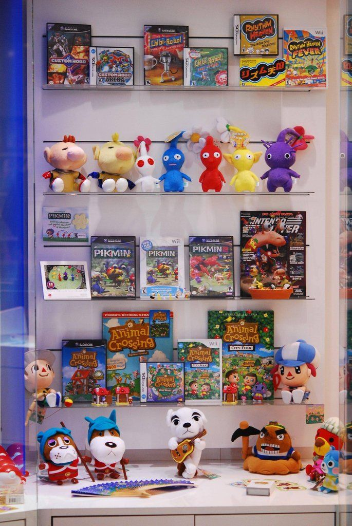 Animal Crossing, Pikmin, Rhythm Heaven, Custom Robo, and Chibi Robo Franchise Cabinet at Nintendo World