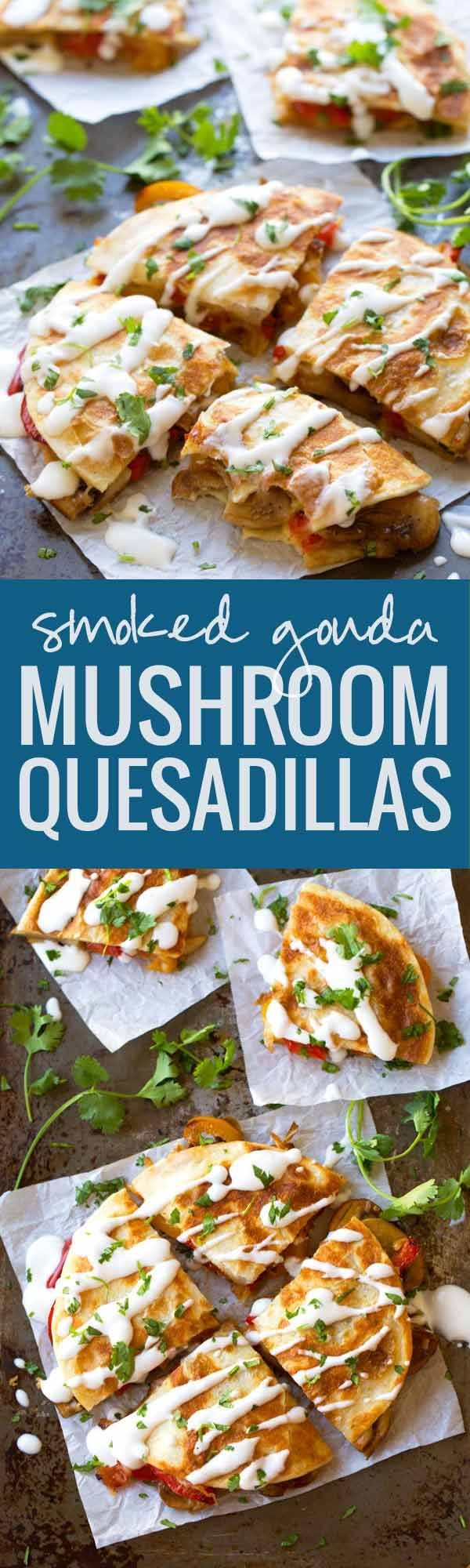 Smoked Gouda Mushroom Quesadilla - these veggie-packed munchies are the perfect summer meal! | pinchofyum.com