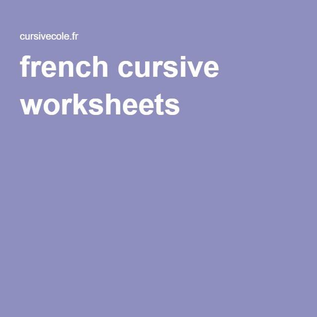 french cursive worksheets