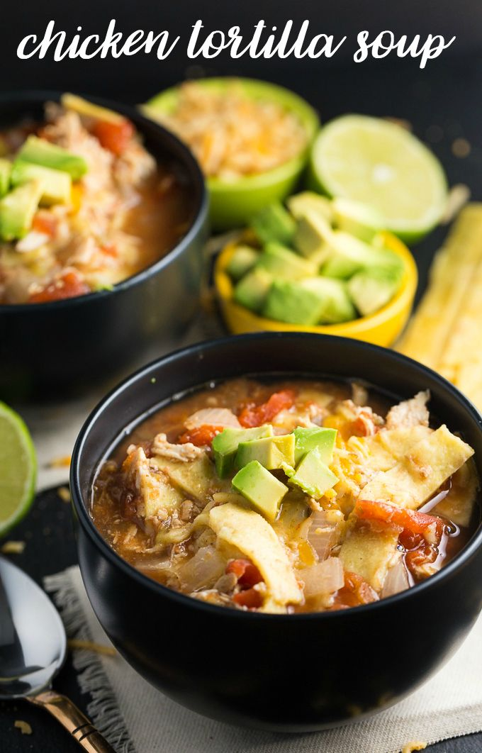Recipe for Chicken Tortilla Soup in the slowcooker.