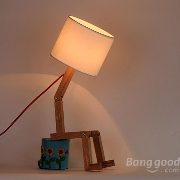 Minimalist Adjustable Solid Wooden Table Lamp Home Decoration Lighting