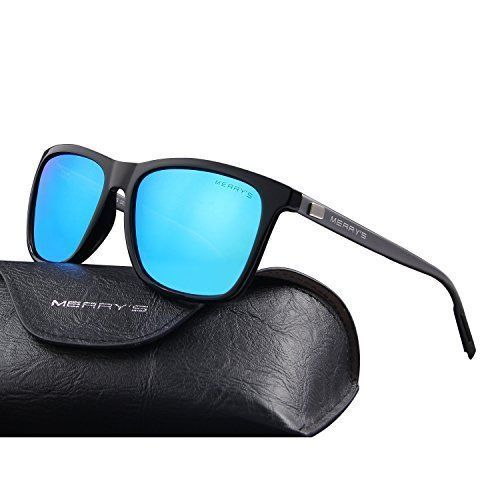 Unisex Sunglasses Glasses Aluminum Polarized Lens Vintage Retro Style Blue Black #Merrys