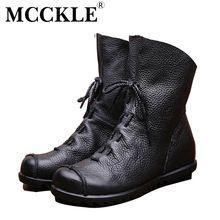 Mcckle 2017 mulheres da forma do vintage genuíno botas de couro primavera outono nova plataforma de moda tornozelo botas de cowboy botas sapatos casuais alishoppbrasil