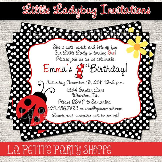 Really cute wording, and also affordable!! Little Ladybug Invitation Red Black DIY by LaPetitePartyShoppe, $7.00