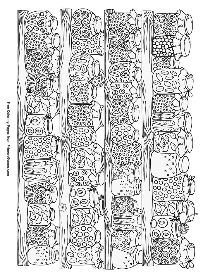 Fall Coloring Page: Canning Jars with Food | Free