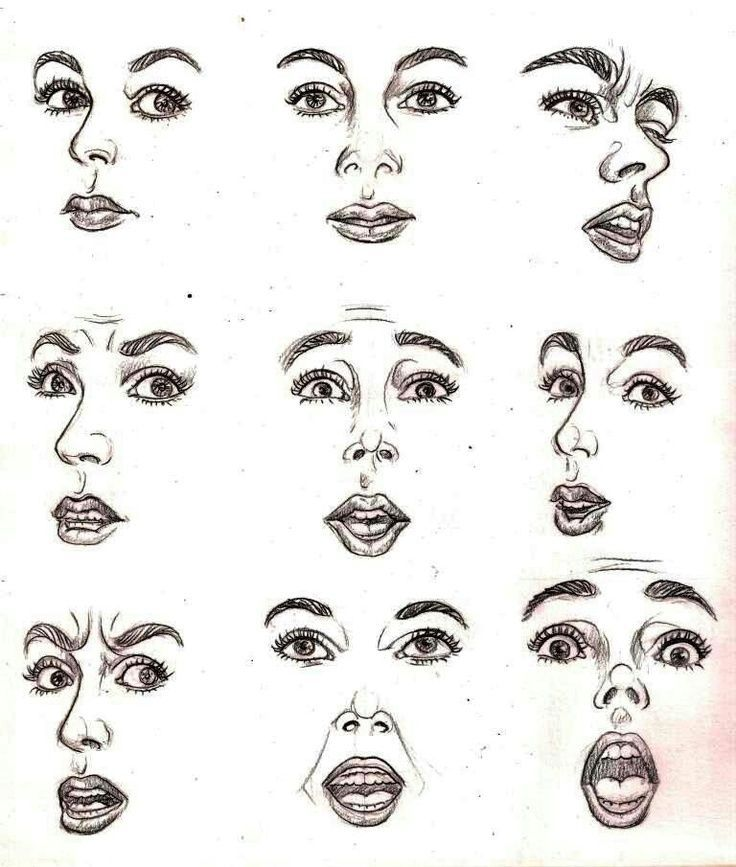 мимика лица рисунок контраст красно-коричневого