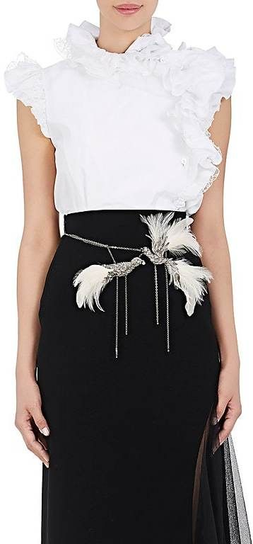 Lanvin Women's Ruffle Cotton Sleeveless Blouse