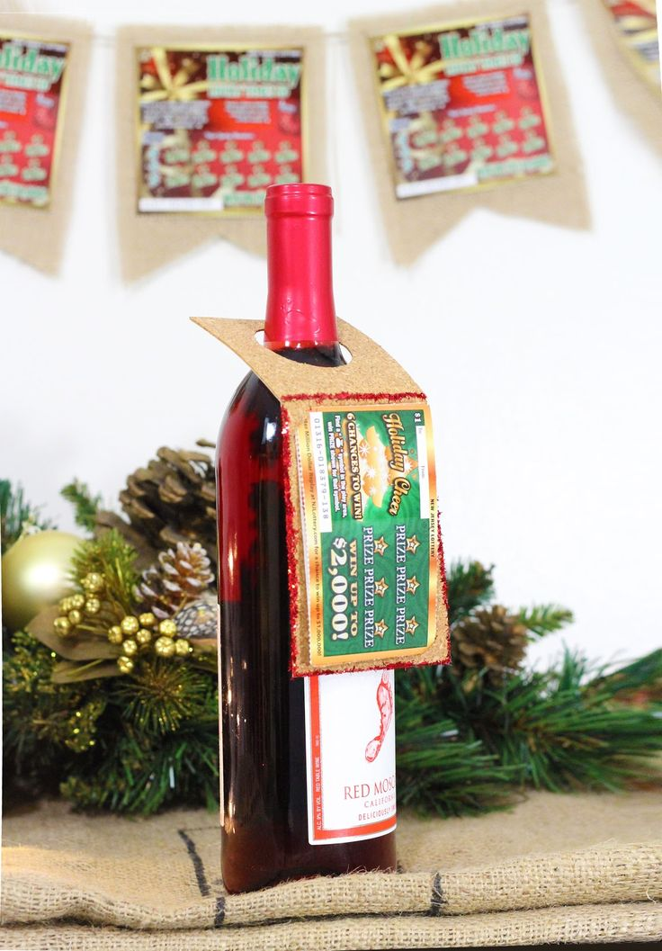Easy Creative Wine Bottle gift tags and Holiday banners with NJ Lottery tickets- #NJLotteryLucky - #HolidayCraft - #DIYideas