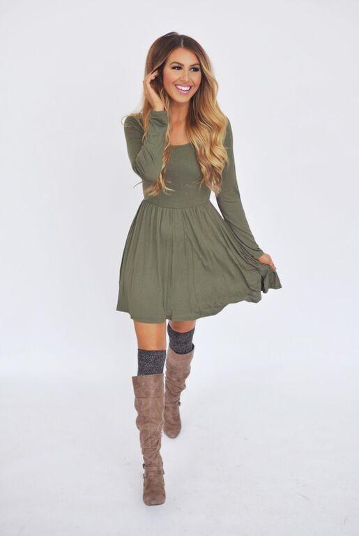 Olive Cross Back Long Sleeve Dress - Dottie Couture Boutique