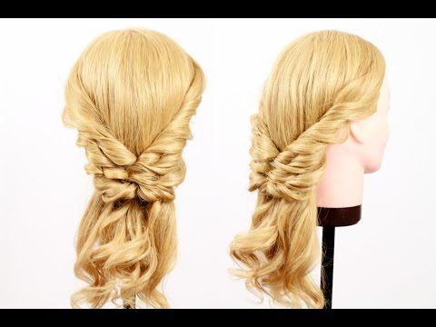M Twisted Tails Hairstyle. Прическа из хвостиков для длинных волос - YouTube