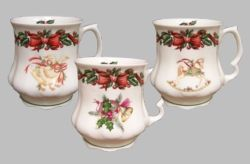 Enjoy your holidays serving hot chocolate, tea, and coffee from these marvelous Victorian tankard mugs that feature a glowing Christmas pattern. Hollyberry garland and attractive red bows encircle the rim of each mug and a matching sprig is visible on the inside of the tankard. Each tankard has a different theme; the rocking horse, horn, and goose, all symbols of the holiday season.    Fine bone china Mugs / Imported from England / Set of 3 #christmasmugs