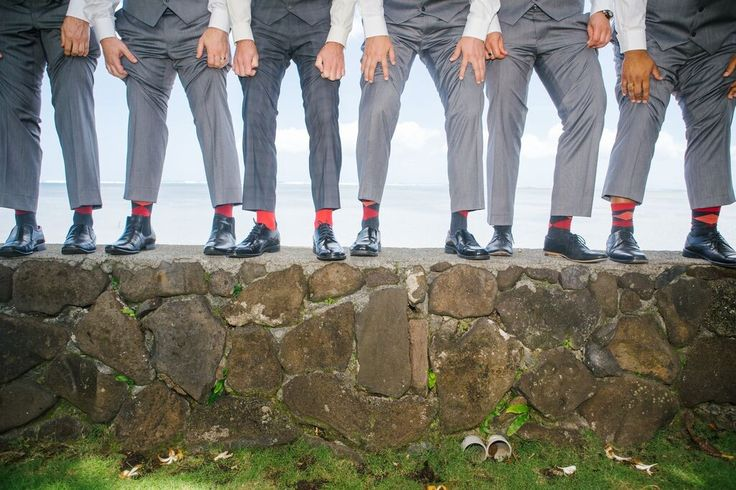 Bold red socks on groomsmen Daily Blog feature http://bit.ly/1QXAiEM #lizmooreweddings