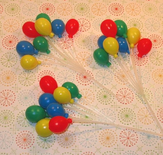 Small Primary Balloon Cupcake Picks  3 by sweettreatssupplies, $3.25