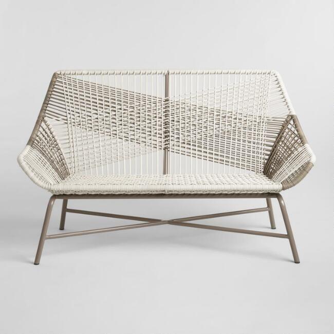 Outstanding Gray All Weather Wicker Andalusia Outdoor Bench V2 Creativecarmelina Interior Chair Design Creativecarmelinacom