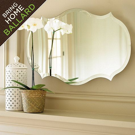 """Dimensions:  Large: 30"""" X 65""""  Medium: 25"""" X 40""""  Small: 20"""" X 30""""  Construction: Made from beveled mirrored glass. MED $89.  Over upstairs vanity"""