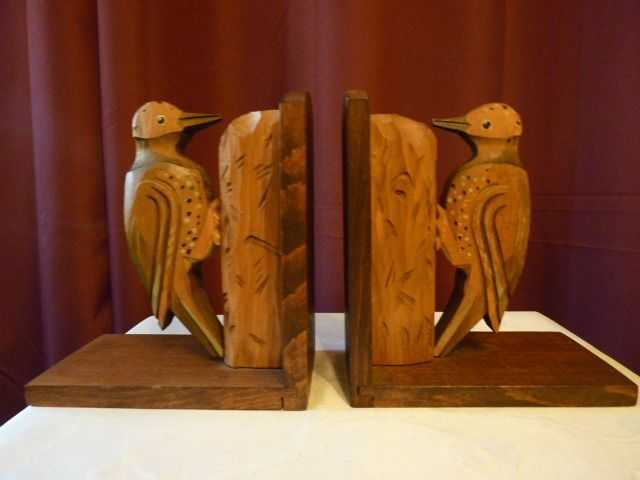 Buchstützen Holz Vögel Ca. 1930