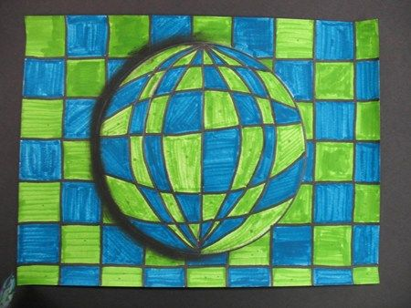 fooling the eye with geometric shapes in art - the side shadow really helps w/this - add to op art and zentangle lessons