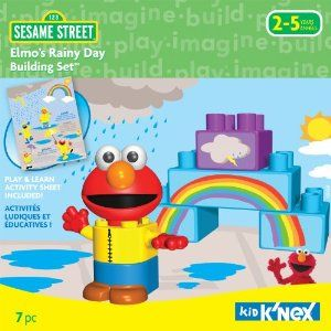 K'NEX Elmo's Rainy Day Building Set by K'NEX. Save 2 Off!. $9.76. Play & learn activity sheet included. Big chunky pieces make it easy for small hands to build.. For ages 2+. 6 total Pieces. Set includes a buildable character plus blocks that create a sunny day. From the Manufacturer                Your child can build and play with Elmo and his rainbow! Forecast calls for fun as he builds Elmo dressed in his rain slicker. But does he need it? Because here comes a rainbow - the i...