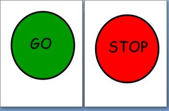Print the stop sign and the go sign back to back. Laminate it and hang it on your classroom bathroom door. When a child is in the bathroom they can flip it to stop so that other students know it is occupied. After they are done they will flip it to go to let the next student know it is their turn!