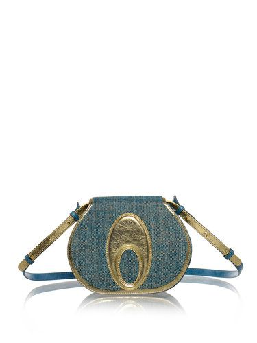 Image of Green-golden Lotus Full-grain Leather Fold-over Flat Top Crossbody Bag