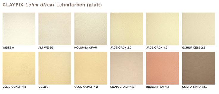 reine Lehmfarben in 12 natürlichen Farbtönen ohne Pigmente. Claytec CLAYFIX Lehm direkt Lehmfarbe