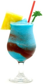 Hawaii Five-O  (2 oz light rum  2 oz Blue Curacao liqueur  1 oz sweet and sour mix  3 oz pineapple juice)