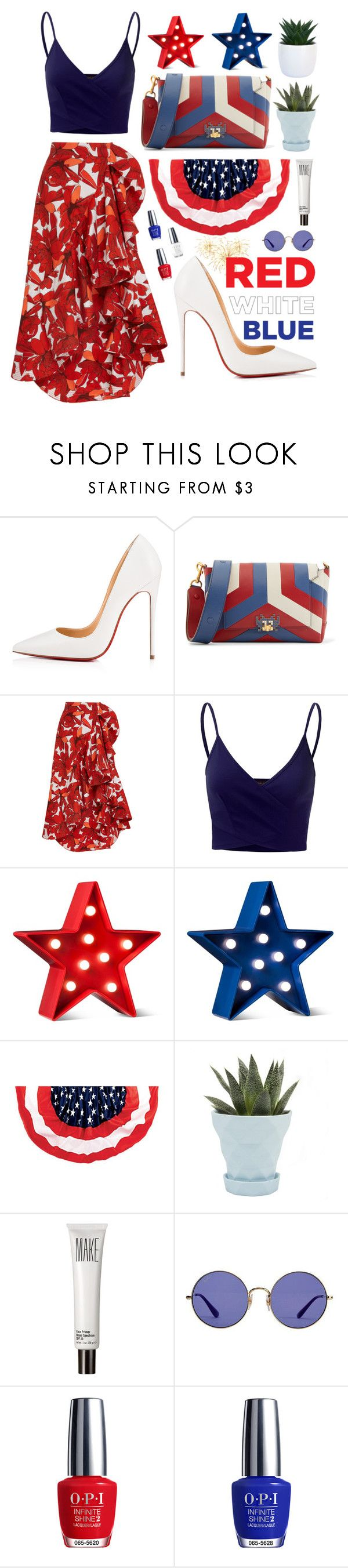 """""""Party in the USA"""" by verenagyuneth ❤ liked on Polyvore featuring Christian Louboutin, Anya Hindmarch, Johanna Ortiz, Doublju, POPTIMISM!, Chive, Make, Ray-Ban, OPI and fourthofjuly"""