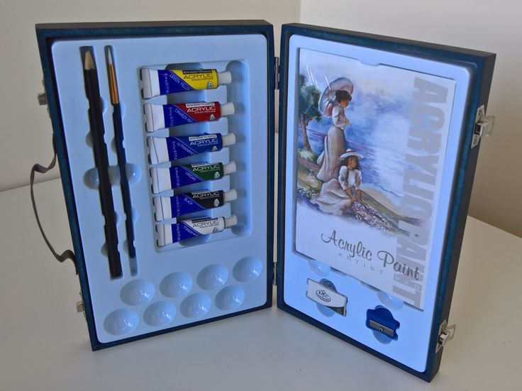 Go anywhere with this fabulous Royal & Langnickel Acrylic Travel Easy Artist Painting Set. The set includes: 6 Essentials Acrylic Paints:  Titanium White Black Viridian Ultramarine Blue Crimson Red Lemon Yellow 1 Golden Taklon Round Paint Brush 1 Drawing Pencil 1 Sharpener 1 Eraser 8 Mixer Palettes 1 Artist Acrylic Sketch/Paint Pad