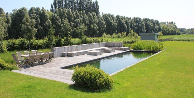 Ecologische zwemvijver met biologische filtering for Zwembad plaatsen in tuin