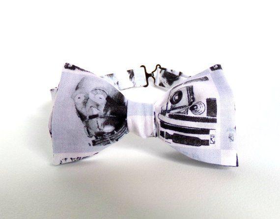 Star Wars Bow Tie R2D2 C3PO Robots Self Tie White Neutral Adjustable Boys Mens Extra Long Accessories Geek Wedding Nerd Space Child Bowtie