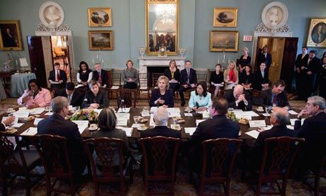 Hillar Clinton speaks at a meeting of the Interagency Task Force on human trafficking