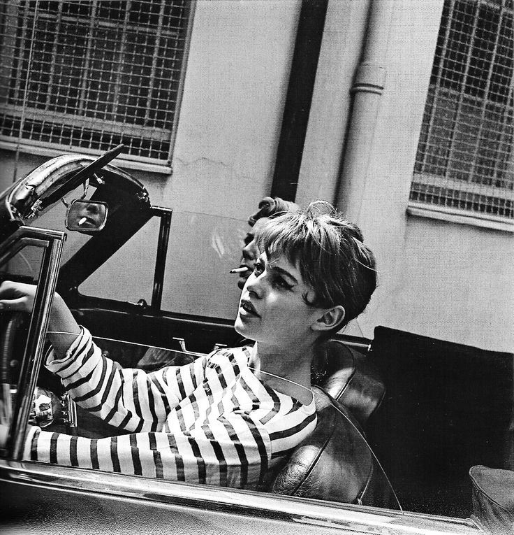 Stripes (Brigitte Bardot photographed by Edward Quinn) I didn't realize she ever had short hair. I used to have hair just like this and wore (and still wear) mariniere shirts.