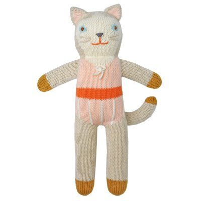 The irresistible cuteness of a Blabla handmade knitted doll just never ends! So cute, squishy and cuddly, with so much character. These adorable friends are made from 100% cotton, and handmade in Peru - bringing a little bit of tenderness to children everywhere.  Measures 31cm tall  Adorable Colette the cat