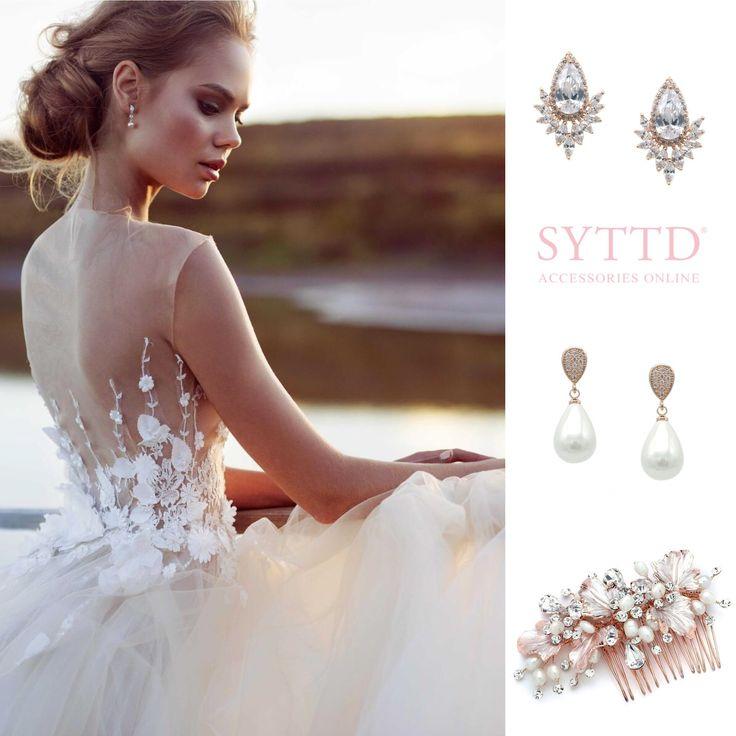 Webshop Bruidssieraden Bruiloft Bruid Rosegoud Oorbellen Haarsieraad Parel Crystal