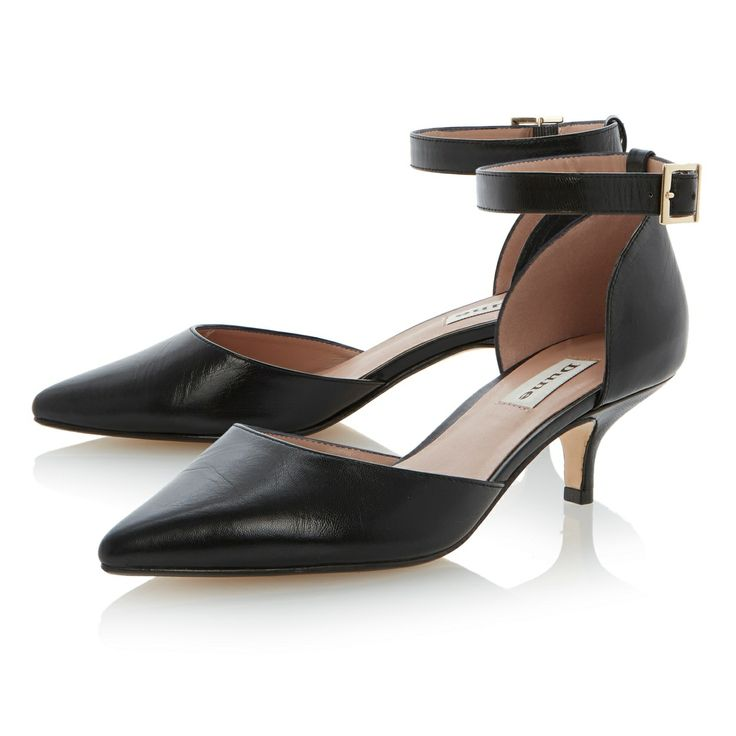 Dune Black two-part ankle strap kitten heel court shoe- at