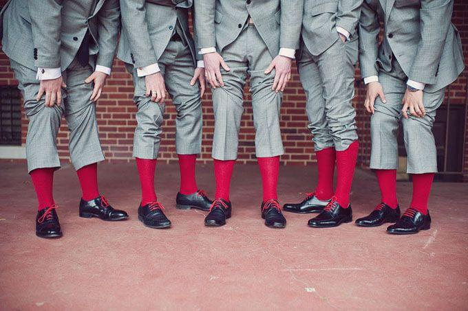 red socks for the groomsmen! | modern red wedding | BRC Photography-11