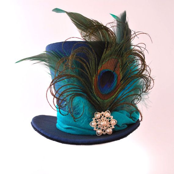 Burlesque, Gothic, Steampunk, Victorian, Showgirl, Moulin Rogue, Blue Navy Mini Top Hat Taffeta Iridescent, peacock feather