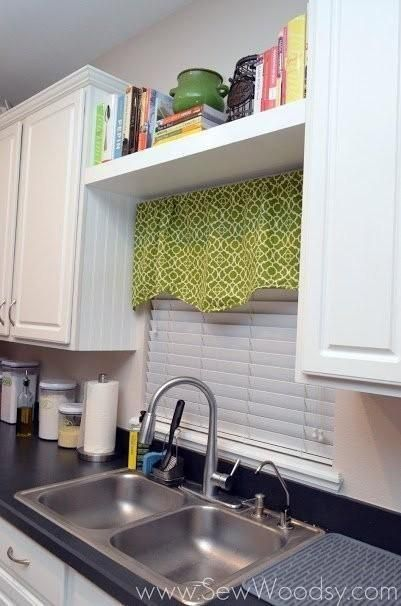 Cookbooks are so handy and cute, but who has space for them? Add a floating shelf on top of your cafe curtains to keep them nearby without using up valuable cabinet space (or blocking natural light).
