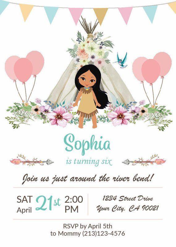 Pocahontas Birthday Invitation Pocahontas Birthday Party Princess Invitations Indian Birthday Parties