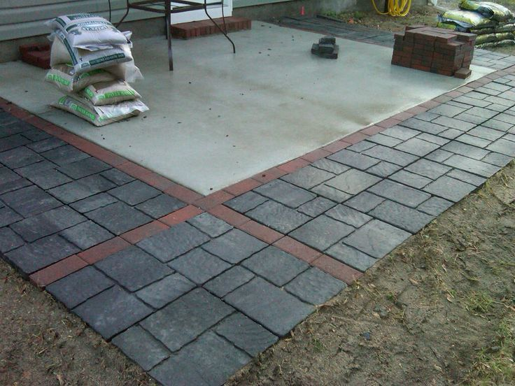 Concrete patio expanded with pavers/flagstones. http://slickdeals ...